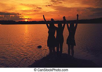przyjaciele, na, zachód słońca