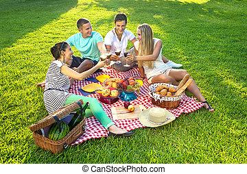 przyjaciele, piknik, posiadanie