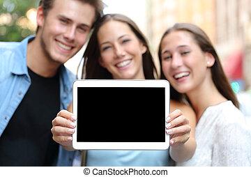 przyjaciele, pokaz, niejaki, czysty, tabliczka, ekran