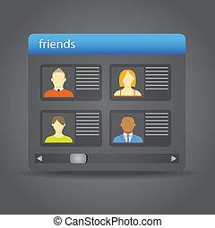 przyjaciele, skupiony, na, przyjaciel, deska