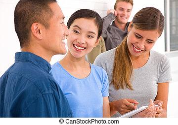 przyjaciele, szczęśliwy, grupa, tabliczka, cyfrowy