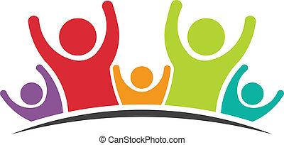 przyjaciele, wizerunek, piątka, teamwork