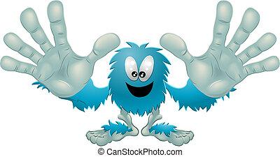 przyjacielski, błękitny, potwór, sprytny, futrzany