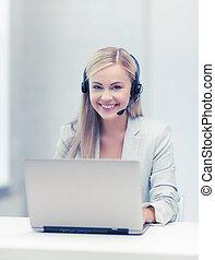 przyjacielski, samica, helpline, operator, z, laptop