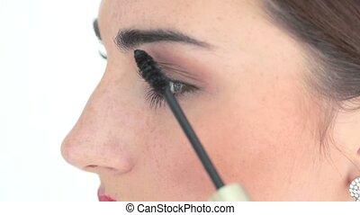 przykładając makeup, artysta, tusz do rzęs