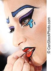 przykładająca kredka, artysta, makijaż, usteczka, closeup, wzór, szczotka