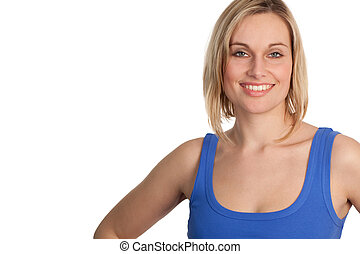 przypadkowy, pociągający, uśmiechnięta kobieta