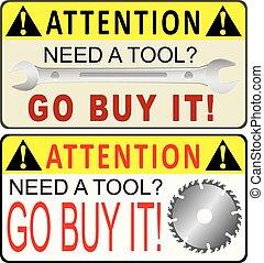 przypomnienie, przemysłowy, narzędzia, nabycie