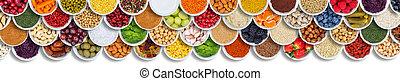 przyprawy, nad, składniki, jadło, warzywa, tło, owoce, jagody, chorągiew
