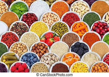 przyprawy, nad, składniki, warzywa, tło, owoce, jagody