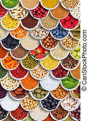 przyprawy, tło, format, jadło, warzywa, składniki, nad, owoce, portret, jagody