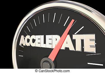 przyspieszać, osiągać, górny, poziom, szybkościomierz, 3d,...