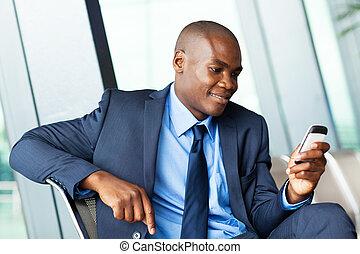 przystojny, afrykańska amerikanka, biznesmen