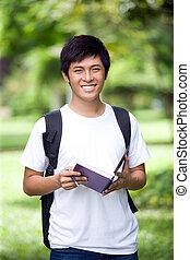 przystojny, asian, student, młody
