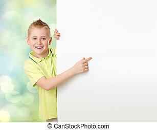 przystojny, chłopiec, spoinowanie do, czysty, reklama, chorągiew