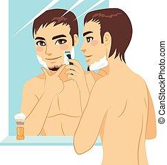 przystojny, człowiek, golenie
