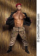 przystojny, człowiek, młody, muskularny, posing.