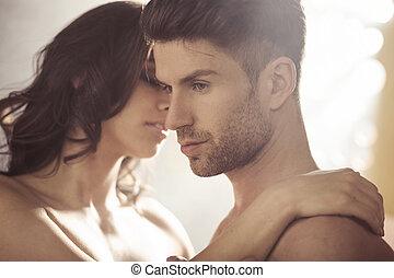 przystojny, jego, brunet, żona
