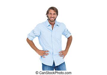 przystojny, jego, siła robocza, biodra, uśmiechnięty ...