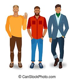 przystojny, mężczyźni, trzy, modny
