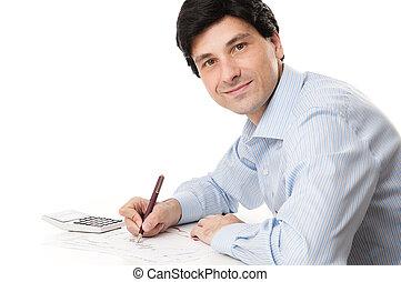 przystojny, młody, biznesmen, liczenie, finanse, na, biuro
