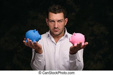 przystojny, poważny, zaufany, człowiek, zawiera, piggy bank