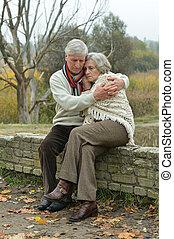 przystojny, starsza para