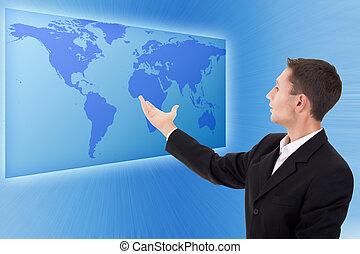 przyszłość, handlowy, rozłączenia, biznesmen, operowanie, interfejs
