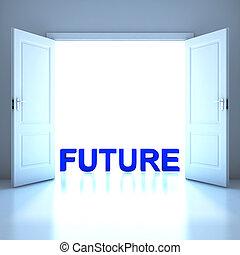 przyszłość, słowo, konceptualny, w, przyszłość