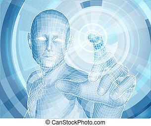 przyszłość, technologia, 3d, app, pojęcie