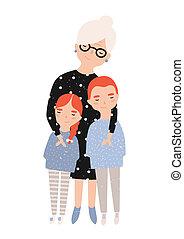 przytulając, sprytny, barwny, jej, grandchildren., wnuk, odizolowany, płaski, rysunek, babcia, tło., granddaughter., wektor, litery, babunia, portret, uśmiechanie się, godny podziwu, biały, illustration.