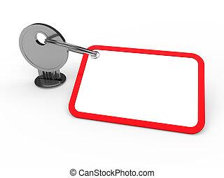 przywiązany, klucz, czerwony, 3d