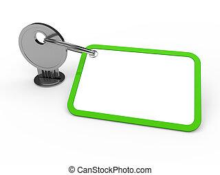 przywiązany, zielony klucz, 3d