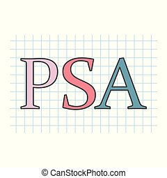 psa, hoja, a cuadros, antigen), escrito, papel, (prostate-...