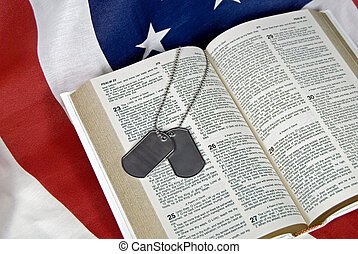 Psalm 23 - Military dog tags on open Bible and flag.