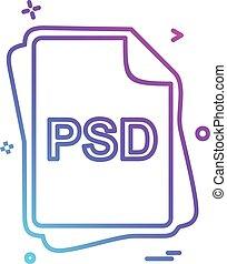 psd, bestand, type, pictogram, ontwerp, vector