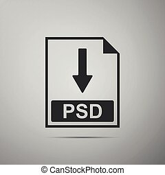 PSD file document icon. Download PSD button icon isolated on grey background. Flat design. Vector Illustration