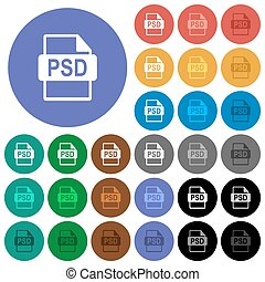 PSD file format round flat multi colored icons
