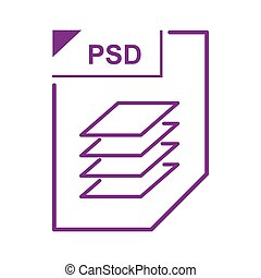 PSD file icon, cartoon style