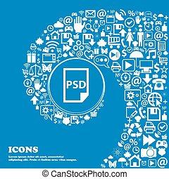 psd, pictogram, ., aardig, set, van, mooi, iconen,...