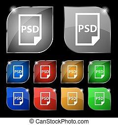 psd, pictogram, teken., set, van, tien, kleurrijke, knopen,...