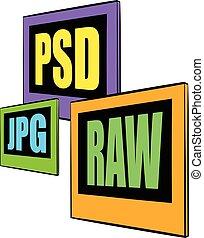 psd, rauwe, bestand,  JPG, spotprent, pictogram