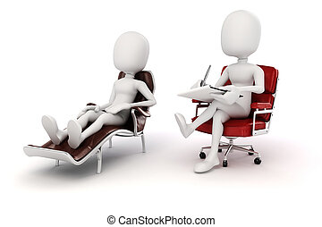 pshychiatrist, 3d, paziente, uomo