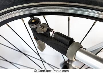 psi., /, велосипед, давление, индикатор, рука, units, насос, воздух, колесо, бар, с помощью, pumping