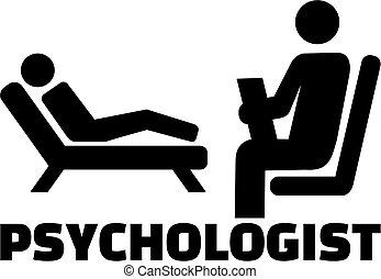 psicólogo, ícone, trabalho, título