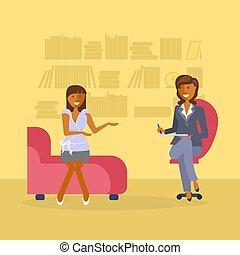 psicólogo, mujer, recepción