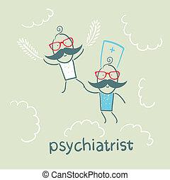 psichiatra, con, paziente, mosche, in, il, cielo