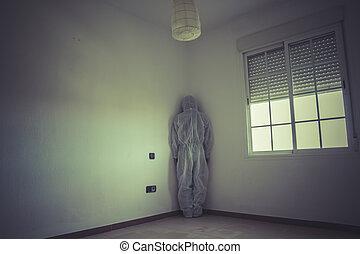 psichiatra, stanza, incubo, maschera, rosso, vuoto, uomo
