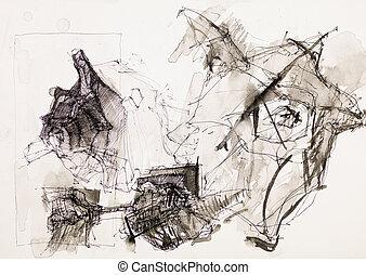 psicodélico, dibujo de tinta