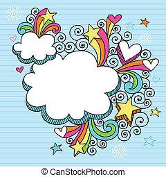 psicodélico, maravilloso, nube, marco